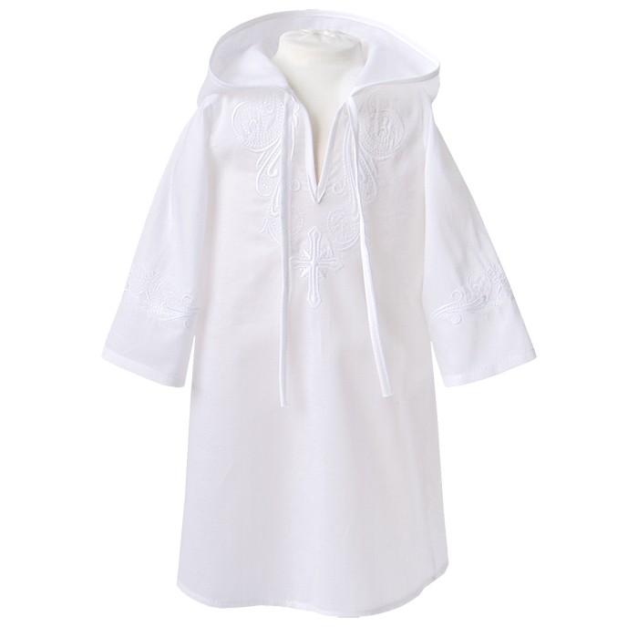 Картинка для Золотой Гусь Крестильная рубашка модель 3 с капюшоном и вышивкой