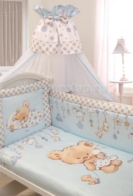 Комплект в кроватку Золотой Гусь Mika сатин (7 предметов)Mika сатин (7 предметов)Сатин, из которого выполнено постельное бельё, обладает многими замечательными качествами. Он мягкий, шелковистый и прочный, а благородный блеск ткани придаёт изысканность и очарование нашему новому дизайну Mika. Фирменная коробка служит достойным оформлением комплекта. Детская будет нежной, красивой, приятной Вашему малышу. Забота с первых дней.  Состав комплекта (7 предметов): Бампер (4 части) на завязках на весь периметр кровати 360х40 Балдахин (сетка) 160х450 см Одеяло 108х140 см Подушка 40х60 см Пододеяльник 110х145 см Наволочка 40х60 Простынь 110х150 на резинке  Материал 100% хлопок, сатин Наполнитель - холофан  Рекомендован для кроватки размером 120 х 60 см .<br>