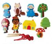 Деревянная игрушка Mapacha Шнуровка - бусы Красная шапочка