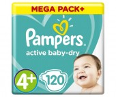 Pampers Подгузники Active Baby Maxi Plus Мега р.4+ (9-16 кг) 120 шт.