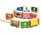 Деревянная игрушка Мир деревянных игрушек (МДИ) Паровозик шнуровка-цифры 12 деталей