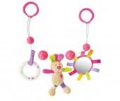 Жирафики Подвеска с погремушкой зеркальцем и мягкой игрушкой Зайка Полли