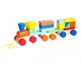 Деревянная игрушка Mapacha Конструктор Паровозик 19 деталей