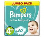 Pampers Подгузники Active Baby Джамбо р.4+ (9-16 кг) 62 шт.