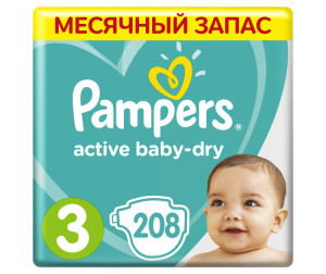 Pampers Подгузники Active Baby-Dry р.3 (6-10 кг) 208 шт.