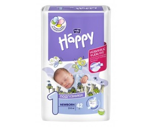 Bella baby Happy Подгузники Happy Newborn с вырезом под пуповину (2-5 кг) 42 шт.