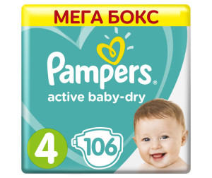 Pampers Подгузники Active Baby-Dry Maxi р.4 (9-14 кг) 106 шт.