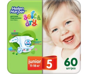 Helen Harper Подгузники Soft & Dry junior (11-25 кг) 60 шт.