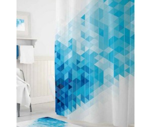 Tropikhome Шторы для ванн полиэстер Digital Printed Blue Squares 180х200 см