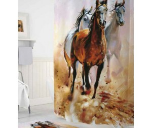 Tropikhome Шторы для ванн полиэстер Digital Printed Horses 180х200 см